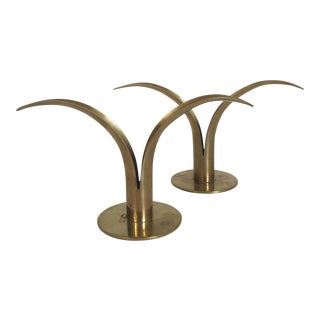 Ystad Metall Sweden Brass Lily Candle Holders - a Pair