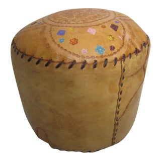 Vintage Brazilian Leather Pouf