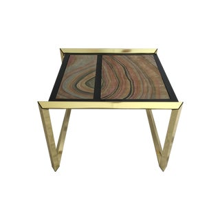 Lane Faux Agate & Brass Side Table