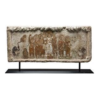 Gandharan Painted Stone Lintel Depicting the Birth of the Buddha