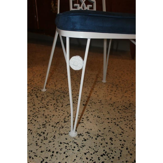 French Art Deco White Lacquered Iron Dining Chairs - Set of 6 - Image 7 of 10
