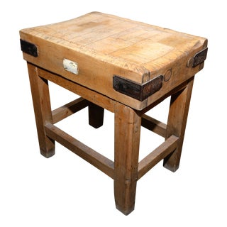 Antique English Butcher Block on Stand
