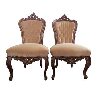 Rococo Louis XV Style Walnut Accent Chairs - Pair