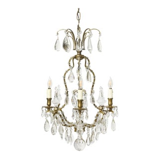 Louis XV Brass & Crystal Chandelier With Rosettes