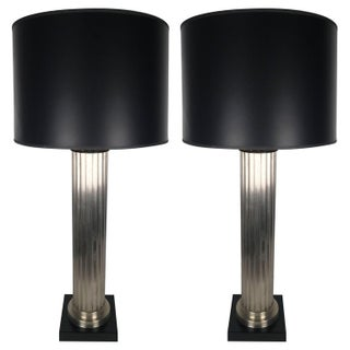 Brushed Aluminum Column Lamps - A Pair
