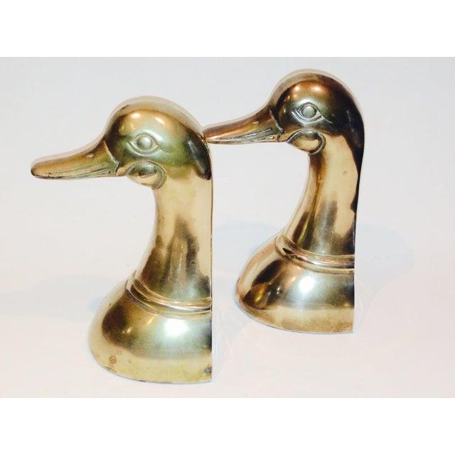 Image of Brass Mallard Duck Bookends - A Pair