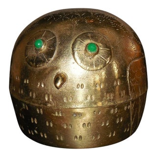 Incised Brass Owl Box With Jeweled Eyes