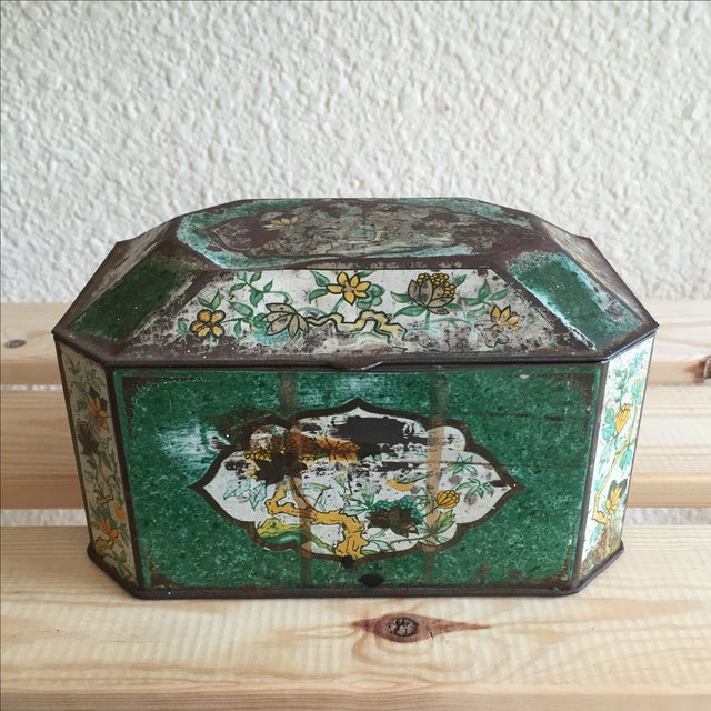 Chinoiserie Flowers English Metal Box - Image 2 of 7