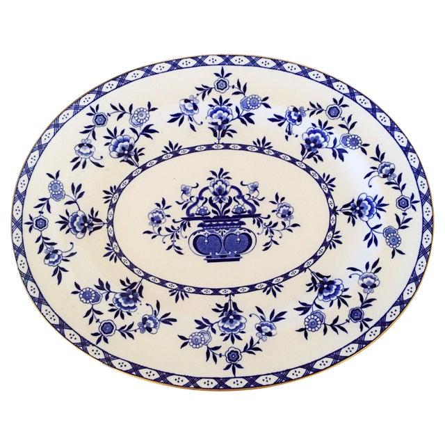 Royal Doulton English Blue & White Platter - Image 1 of 3