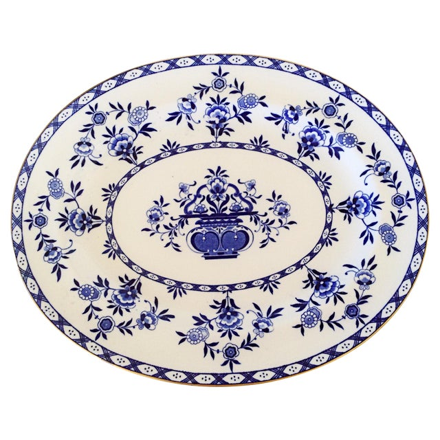 Image of Royal Doulton English Blue & White Platter