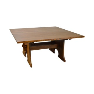 Stickley Mission Oak Large Square Keyhole Trestle Expanding Dining Table