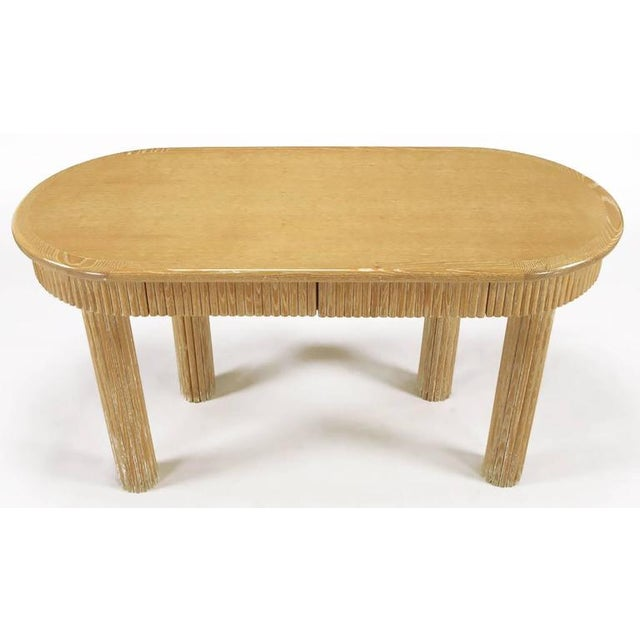 Image of Custom Oval Cerused Oak Writing Desk with Reeded Legs and Apron