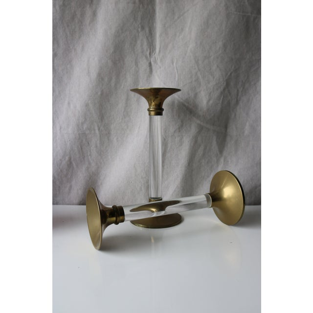 Image of Brass and Lucite Candleholders - A Pair