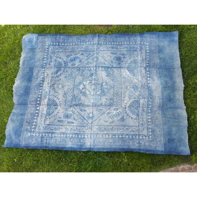 Antique 1930s Softly Faded Blue Batik Textile - Image 2 of 5