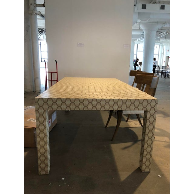Custom Designed Holland & Sherry Grasscloth Wrapped Parsons Style Dining Table - Image 3 of 5