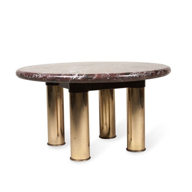 Image of Marble-Top Circular End Table, 1980s