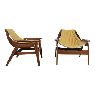 Jerry Johnson Walnut Sling Chairs- A Pair