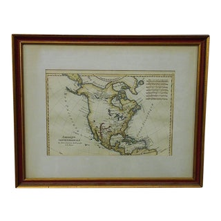 "Antique 18th C. Map-N. America-""Amerique Septentrionale"" By Bonne"
