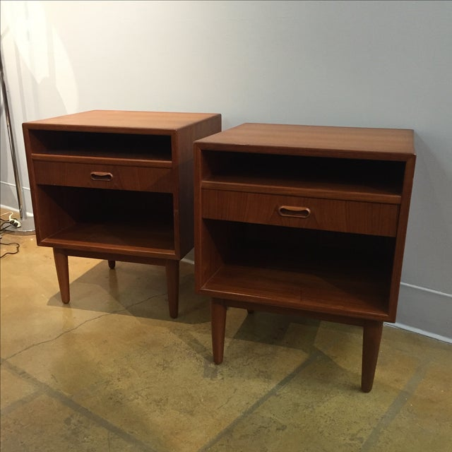 Danish Modern Teak Nightstands - Pair - Image 2 of 6