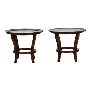Pair of French Mid-Century Side Tables with Etched Glass Tops