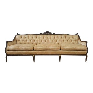 Vintage French Provincial Gold Floral Brocade Sofa