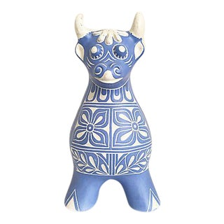 Blue & White Chilean Bull Figurine