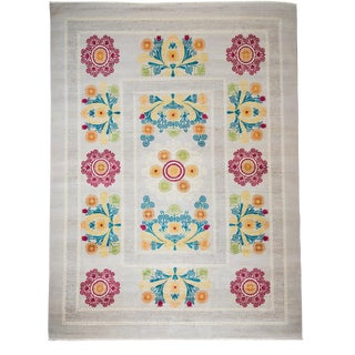 """Suzani Hand Knotted Area Rug - 9'1"""" X 12'3"""""""