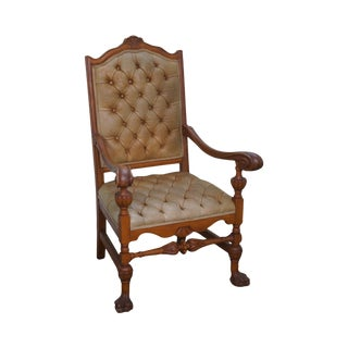 Solid Walnut Tufted Leather Renaissance Style Throne Arm Chair