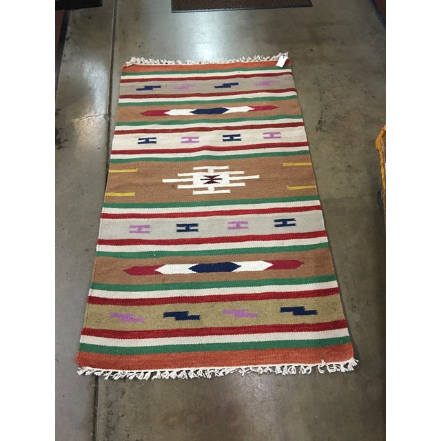 Handmade Geometric Aztec Rug - 2′11″ × 5′ - Image 5 of 7