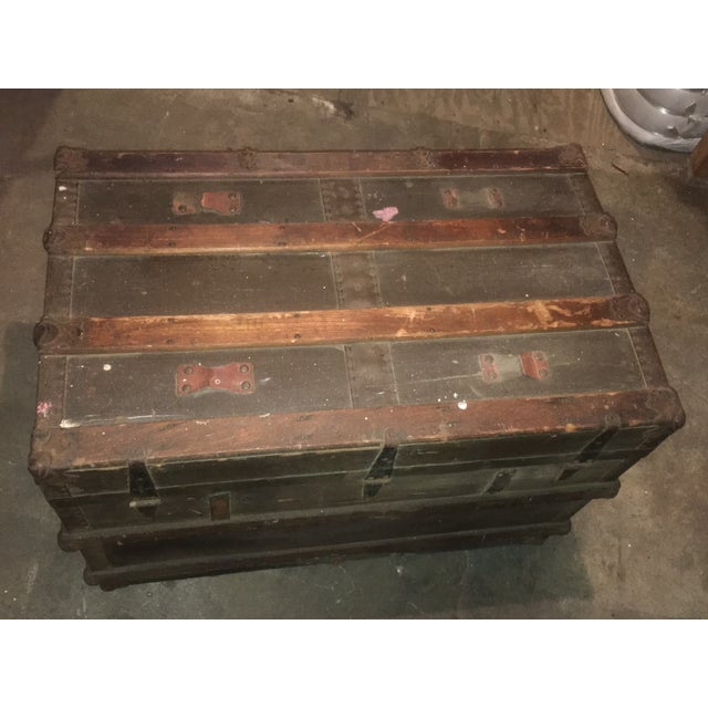 Antique Flat Top Steamer Trunk Coffee Table Chairish