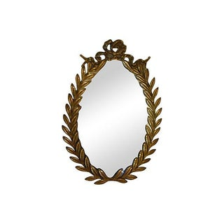 Neoclassical Brass Wall Mirror with Leaves
