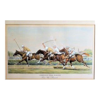 Framed Paul Brown American Polo Scene Hand Colored Print