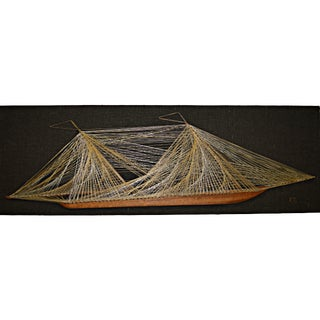 String & Nail Ship Hanging Art
