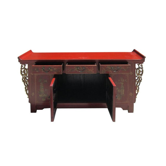 Chinese Vintage Red & Gold Altar Buffet Table - Image 4 of 6