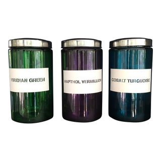 Industrial Colored Glass Jars - Set of 3