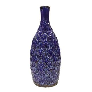 Tall Ceramic Cobalt Blue Carved Vase
