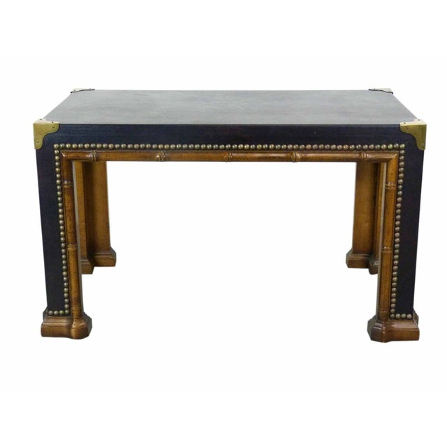 Drexel Faux Bamboo Leather Top Side Table - Image 1 of 9