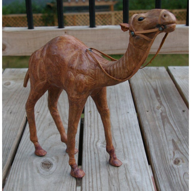 Vintage Leather Standing Camel - Image 2 of 4