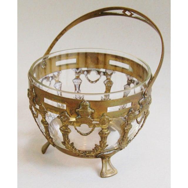 Antique Brass Filigree & Crystal Basket - Image 4 of 10