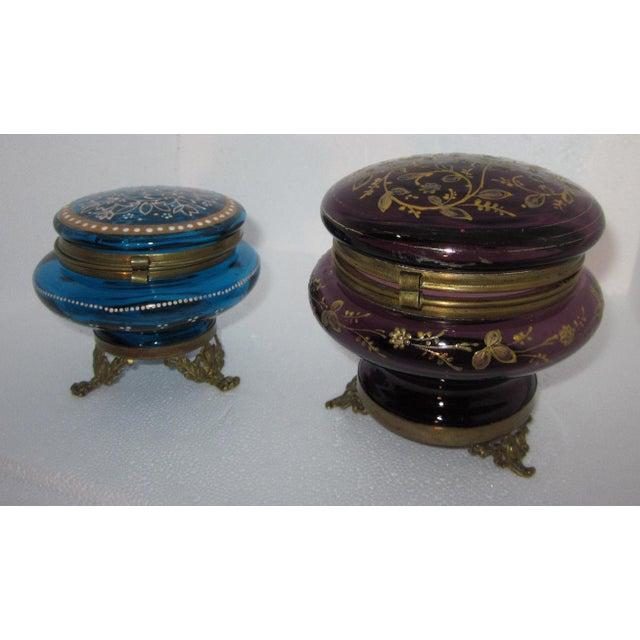 Victorian Czech Art Glass Ormolu Dresser Boxes - A Pair - Image 2 of 6
