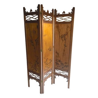Vintage Chinoiserie Fretwork Privacy Screen