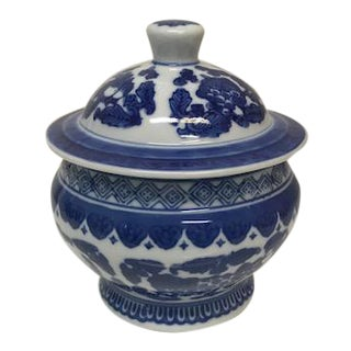 Chinoiserie Blue and White Small Round Lidded Jar