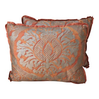 Silver & Tangerine Fortuny Pillows - A Pair