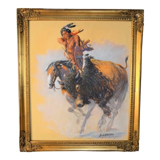 Vintage Oil Painting of Native American by Bud Breen