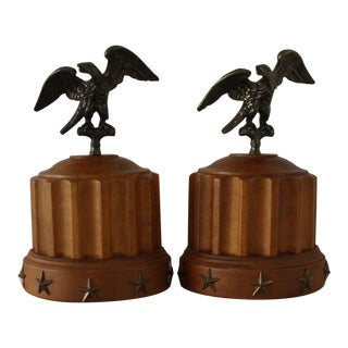 Vintage Brass Eagle and Column Bookends by Tell City Chair Company