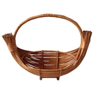 Vintage Handmade Wicker Rattan Basket