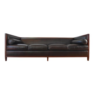 Baker Archetype Wood Banded Leather Sofa
