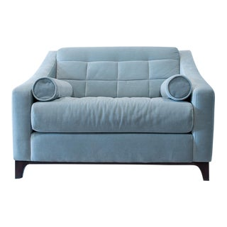 Blue Transitional Tufted Upholstered Armchair