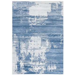 Abstract Art Blue Rug - 4'x 5'8''