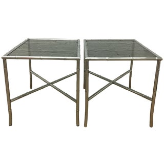 Chrome Faux-Bamboo Side Tables - A Pair